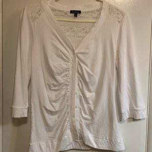 Le Chateau White Button Up lace back top